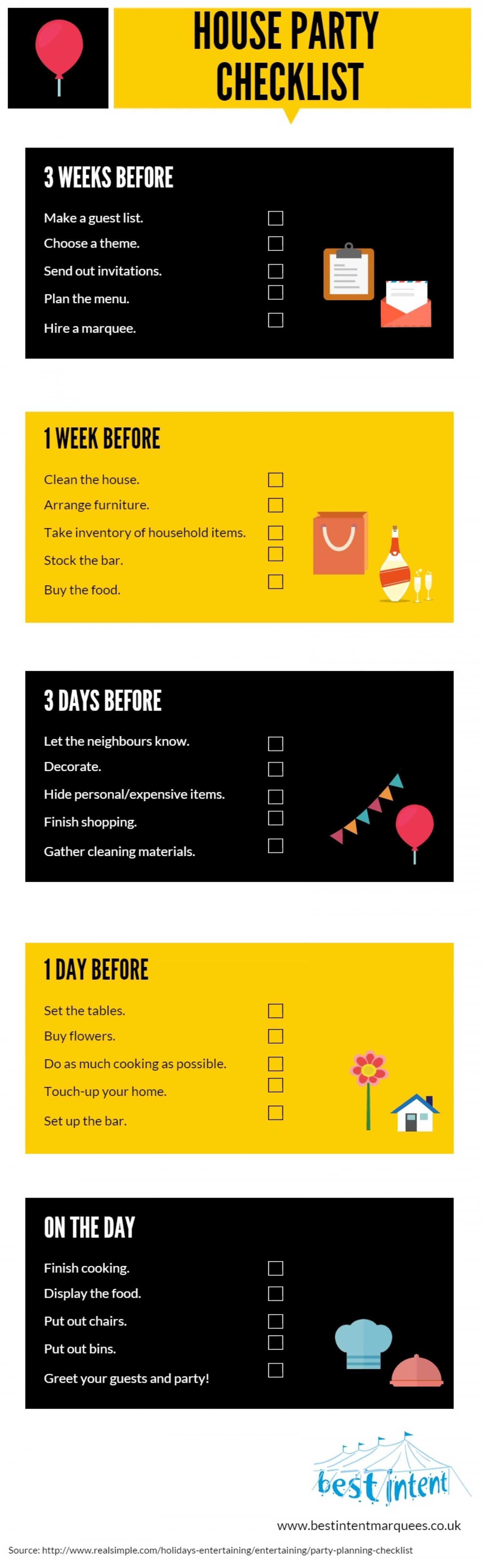 House Party Checklist Infographic Magician